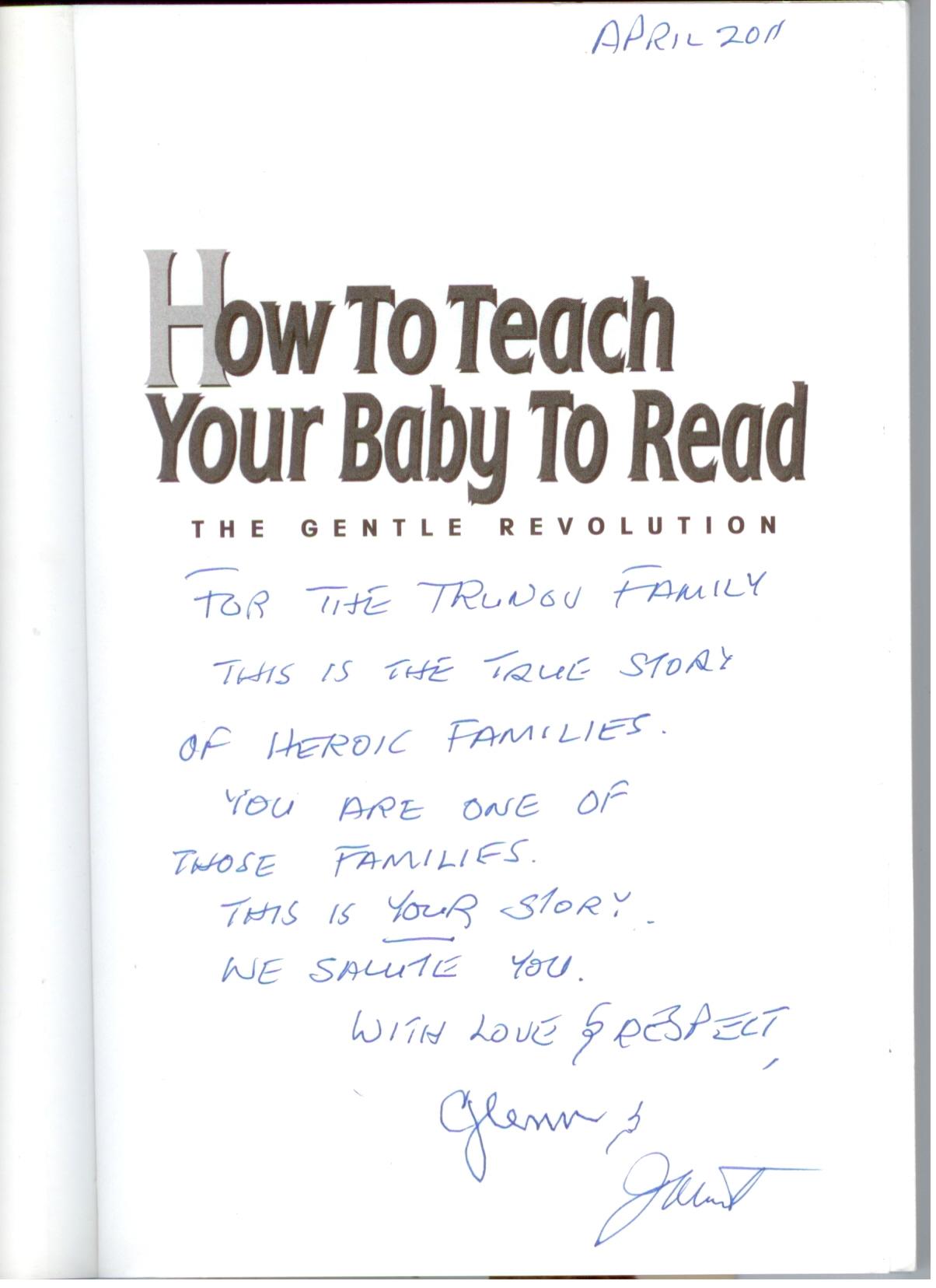 """Автографы Глена Домана и Джанет Доман на книге """"Как научить Вашего ребенка читать"""""""