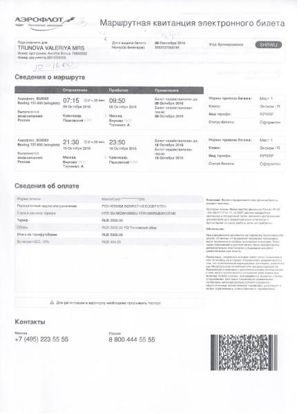 Билет Валерии Труновой