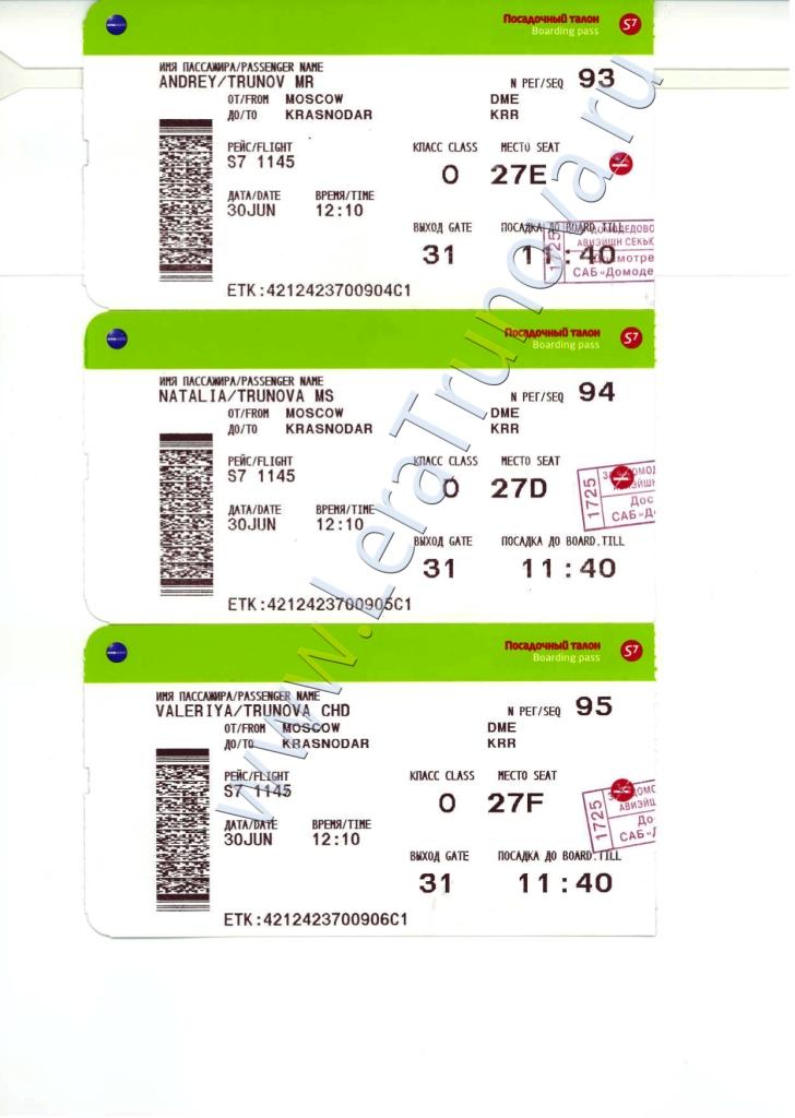 Посадочные талоны на рейс из Москвы в Краснодар