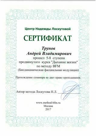 Диплом Андрея Трунова о прохождении 8 ступеней